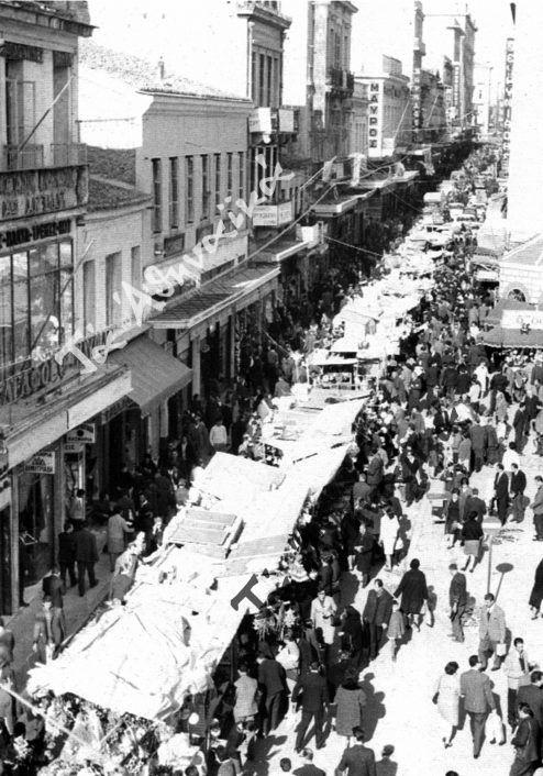 Οδός Αιόλου παραμονές Πρωτοχρονιάς δεκαετία 1950