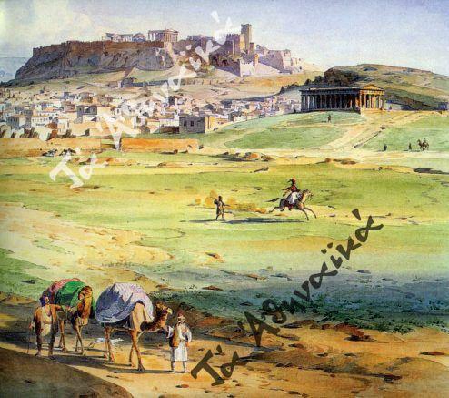 Σε πρώτα πλάνο γκαμήλες που χρησιμοποιούνται ως μεταγωγικό μέσο Ludwig Lange 1836