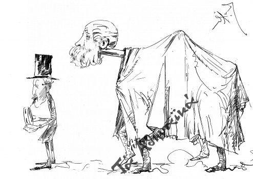 Η ελληνικωτέρα μασκαράτα σκίτσο του Θέμου Άννινου που σατιρίζει τον Θεόδωρο Δηλιγιάννη κεφάλι Γκαμήλας