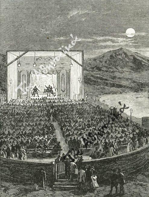 Υπαίθριο θέατρο στο Φάληρο γύρω στα 1850.