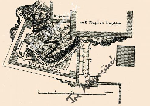 Αποτύπωση της Κλεψύδρας, στην οποία φαίνεται και ο προμαχώνας του Οδυσσέα Ανδρούτσου. Δημοσιεύθηκε τη χρονιά που κατεδαφίστηκε (1888), σε γερμανική έκδοση (Adolf Boetticher), όπου ιστορούνται και τα γεγονότα της Επαναστάσεως.